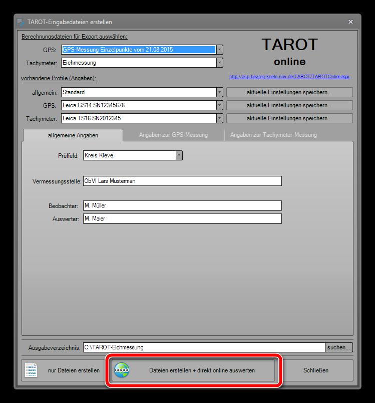 TAROT-Eingabedateien erstellen
